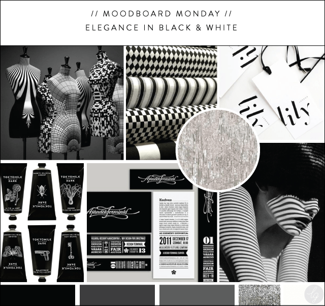 Elegance in Black & White Moodboard |  Lindsay Goldner