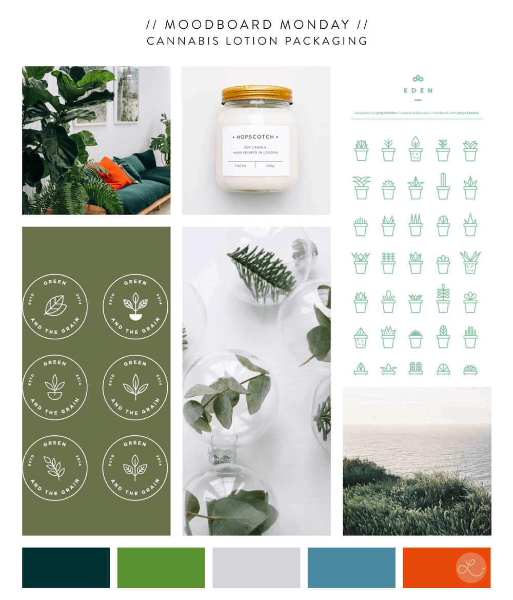 Cannabis Lotion Moodboard | No Fonts Given Co