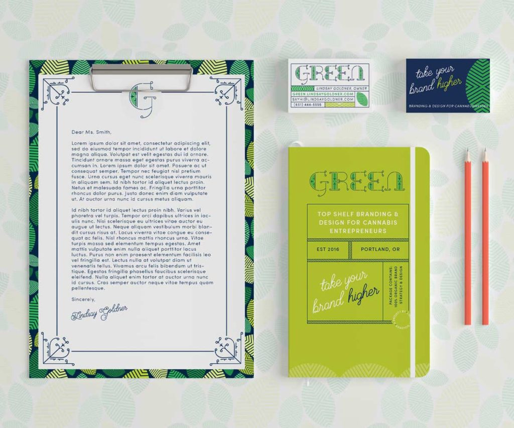Green Cannabis Stationery Flat Lay | Lindsay Goldner - No Fonts Given Co