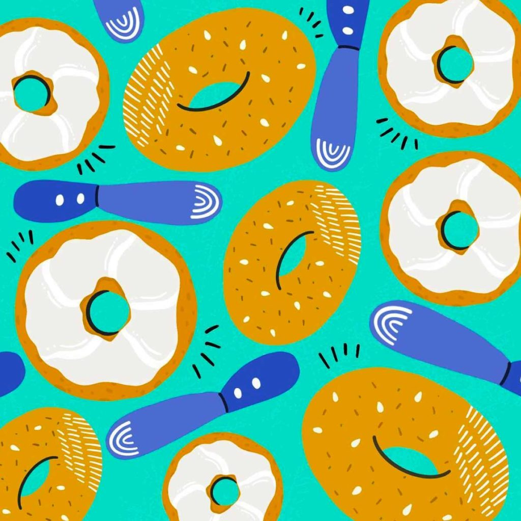 Bagels and Cream Cheese Illustration Pattern | Lindsay Goldner - No Fonts Given Co