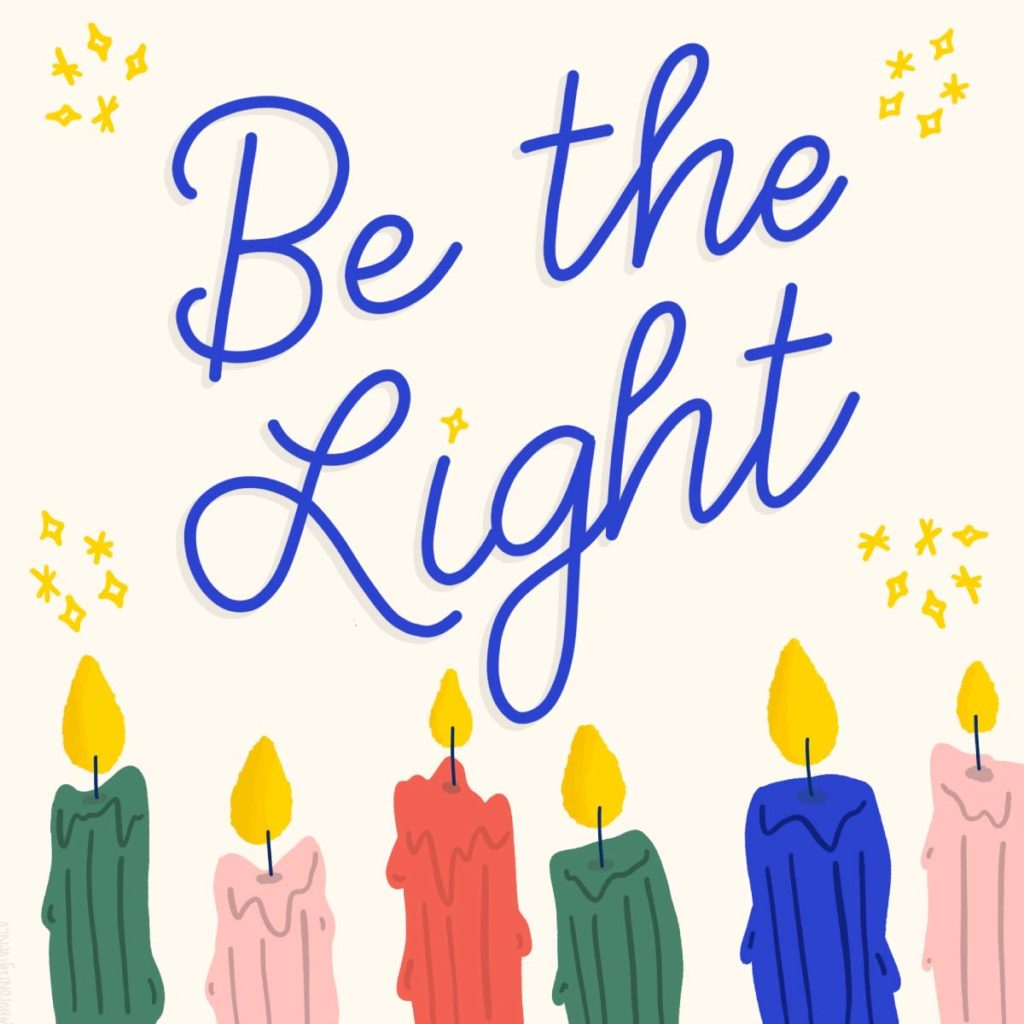Be the Light social graphic | Lindsay Goldner - No Fonts Given Co