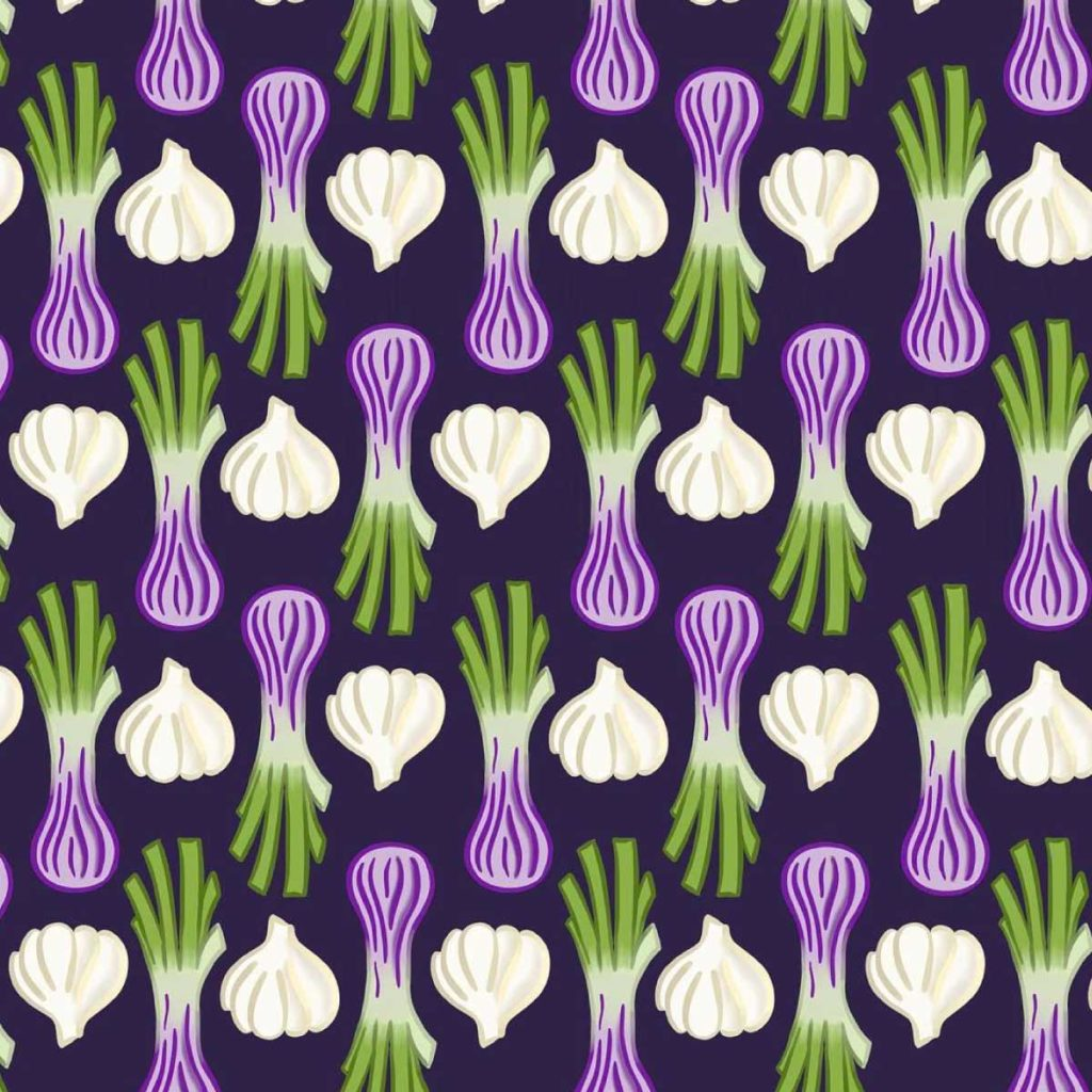 Garlic and Onion Illustration Pattern | Lindsay Goldner - No Fonts Given Co