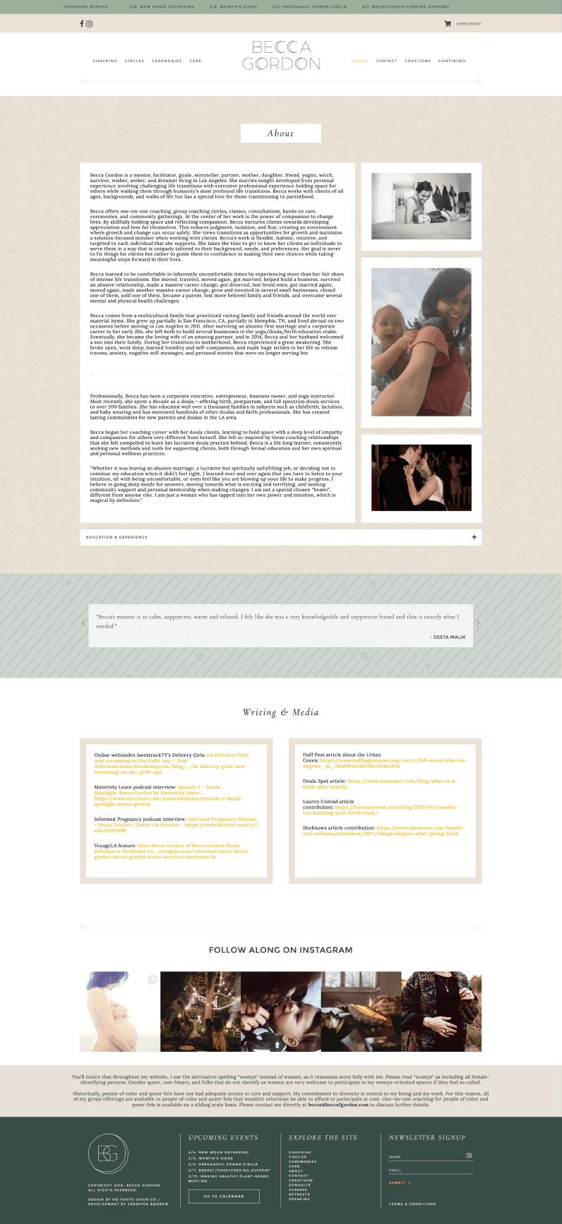 Becca Gordon Website Interior 2   Lindsay Goldner @ No Fonts Given Co