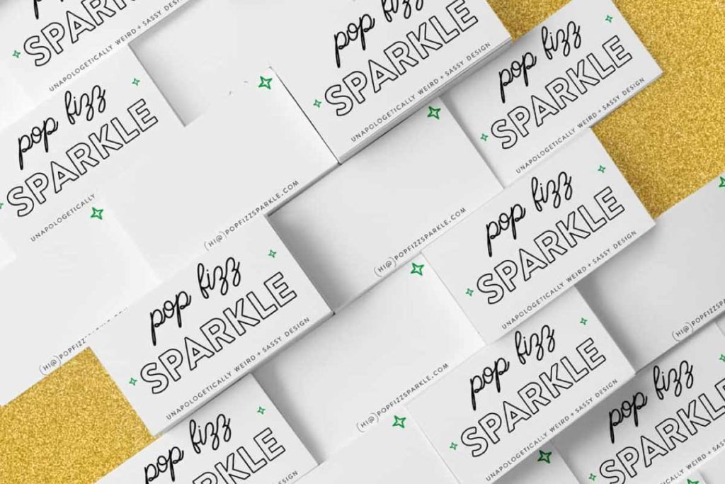 Pop Fizz Sparkle Holiday Business Cards | Lindsay Goldner - No Fonts Given Co