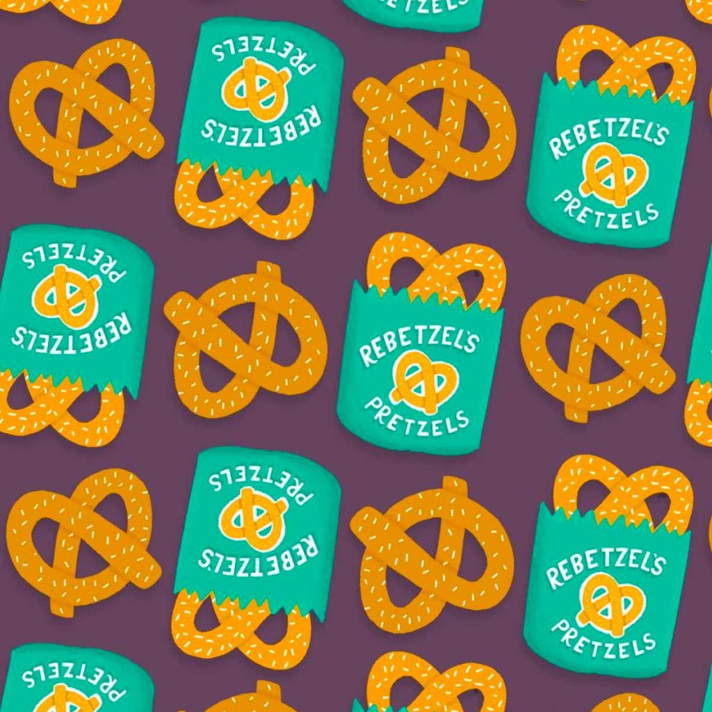 Rebetzels Pretzels Crazy Ex Girlfriend Illustration Pattern | Lindsay Goldner - No Fonts Given Co