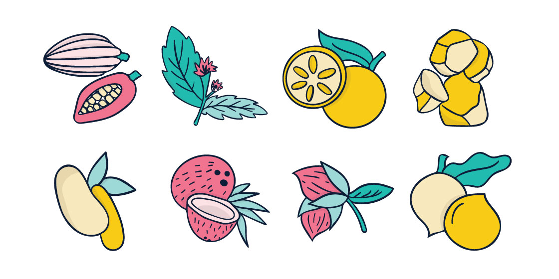Aiketo ingredient icon set