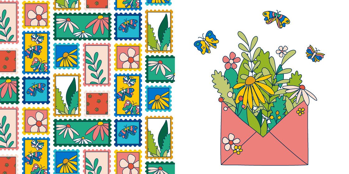 Spring floral stamp pattern and coordinating hero illustration – No Fonts Given