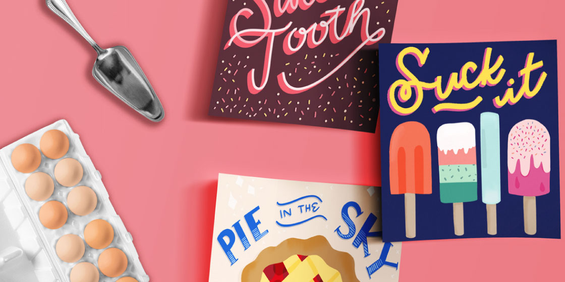 Sweet pun lettering and illustration – No Fonts Given