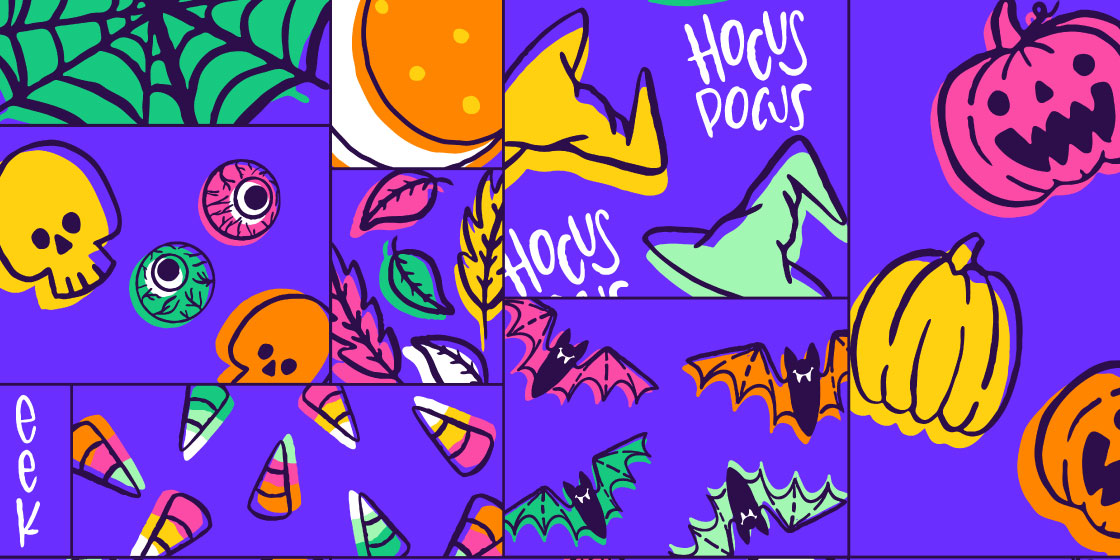 Halloween Hocus Pocus cheater quilt swatch – No Fonts Given